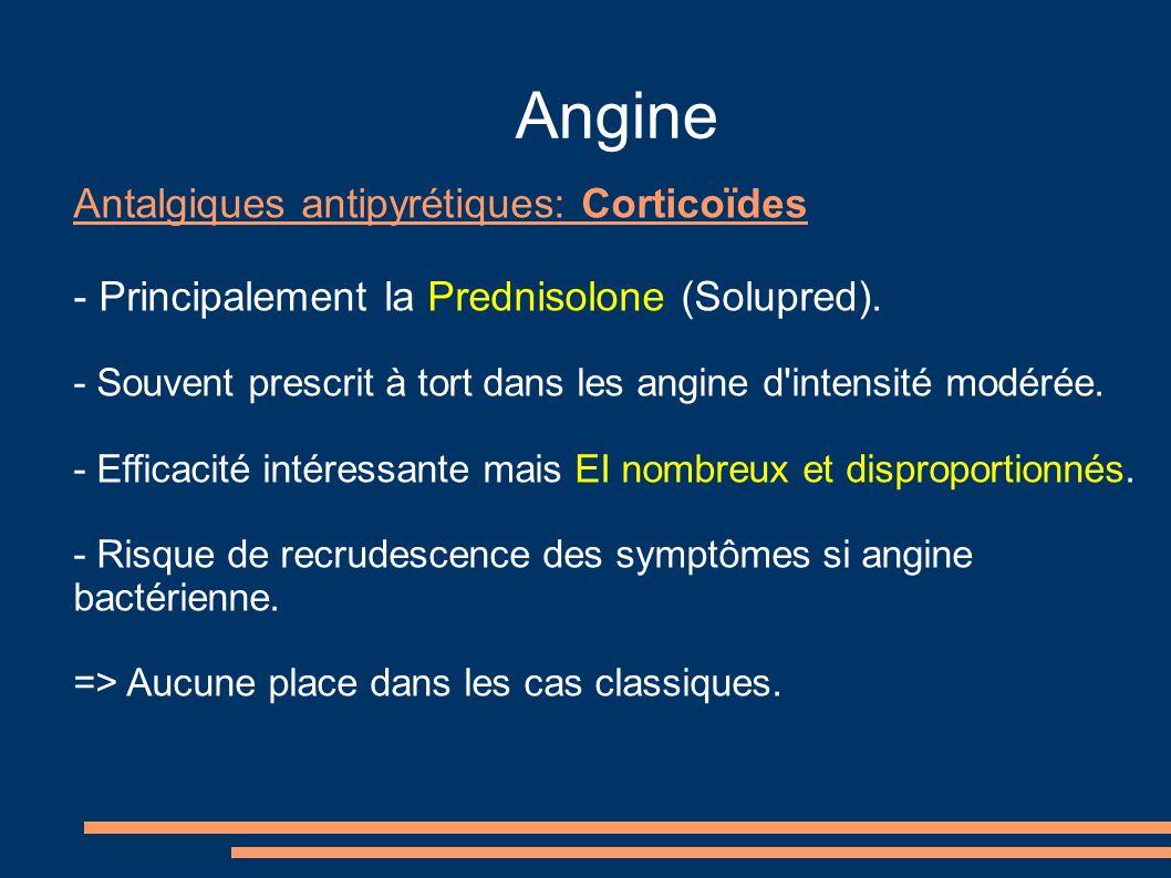 Angine Antalgiques antipyrétiques: Corticoïdes