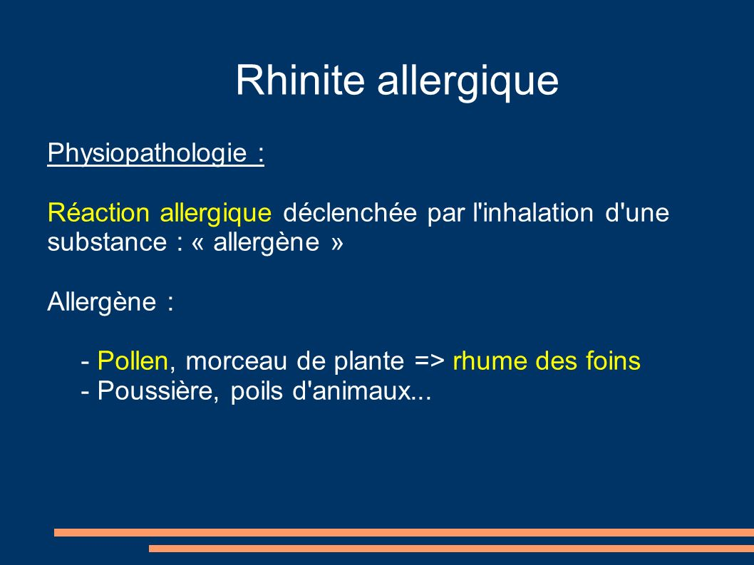 Rhinite allergique Physiopathologie :