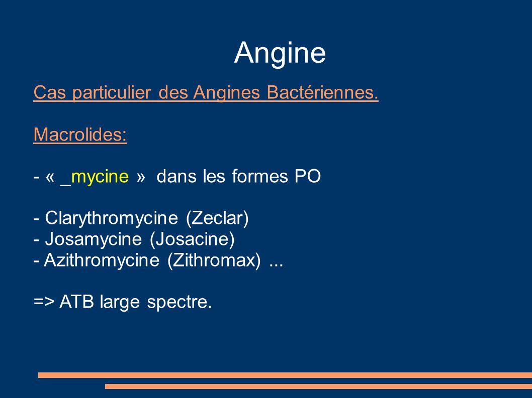 Angine Cas particulier des Angines Bactériennes. Macrolides:
