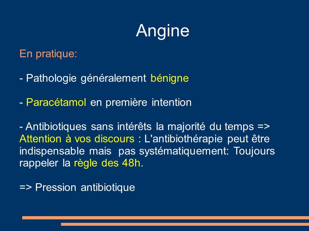 Angine En pratique: - Pathologie généralement bénigne