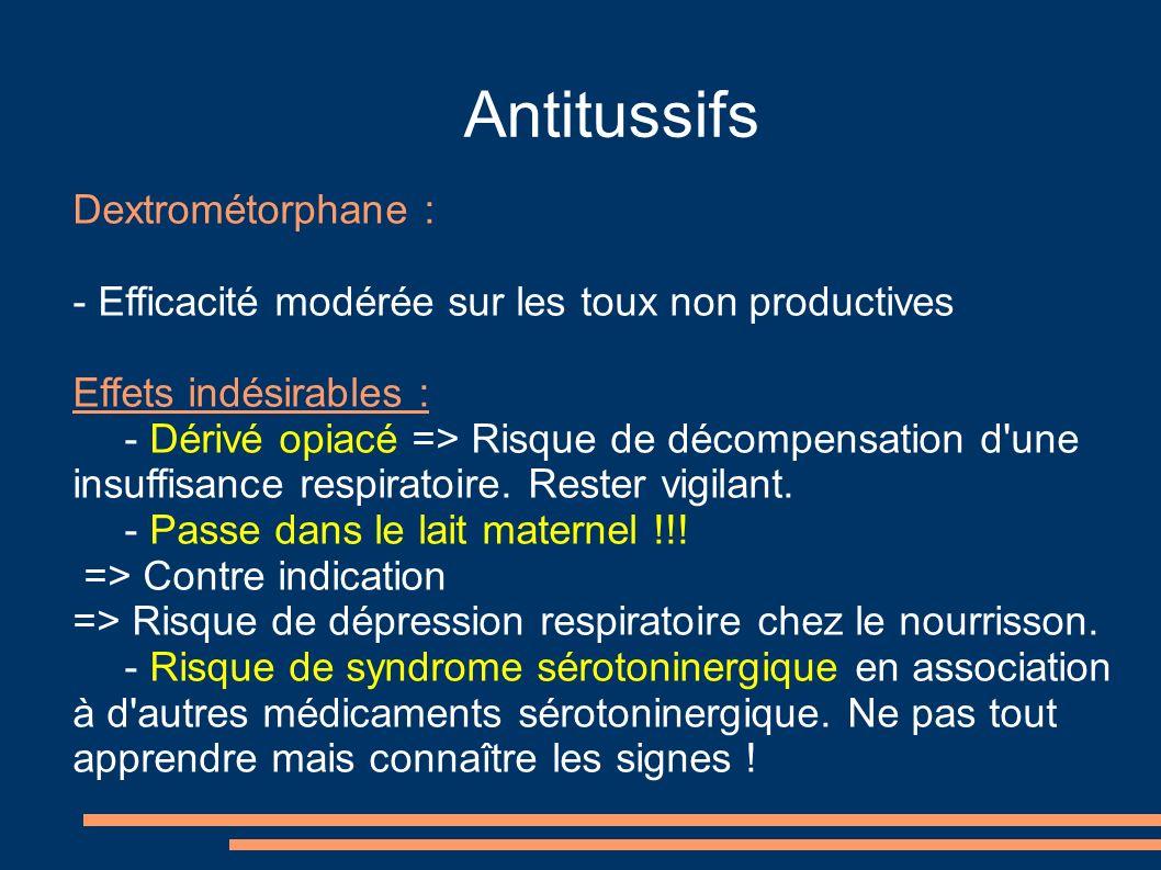 Antitussifs Dextrométorphane :