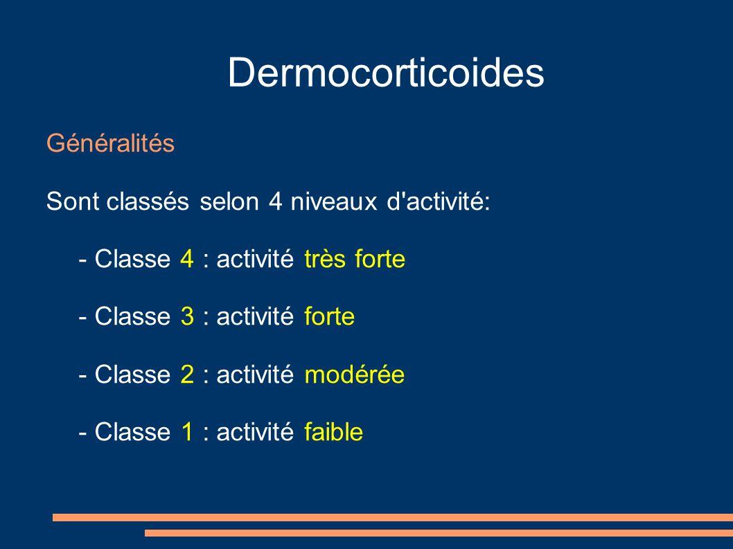 Dermocorticoides Généralités Sont classés selon 4 niveaux d activité: