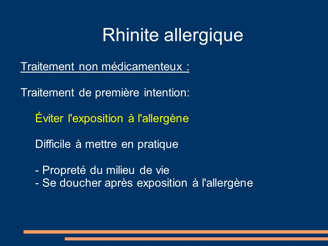 Rhinite allergique Traitement non médicamenteux :