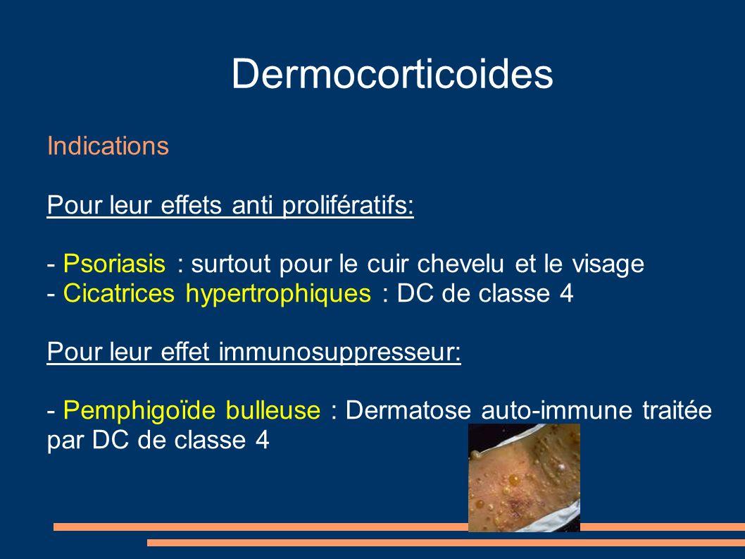 Dermocorticoides Indications Pour leur effets anti prolifératifs: