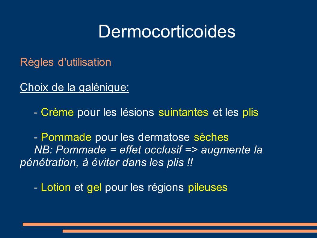 Dermocorticoides Règles d utilisation Choix de la galénique: