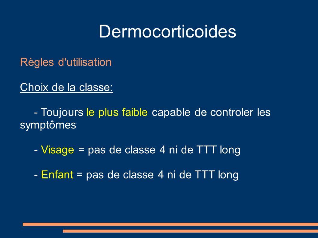 Dermocorticoides Règles d utilisation Choix de la classe: