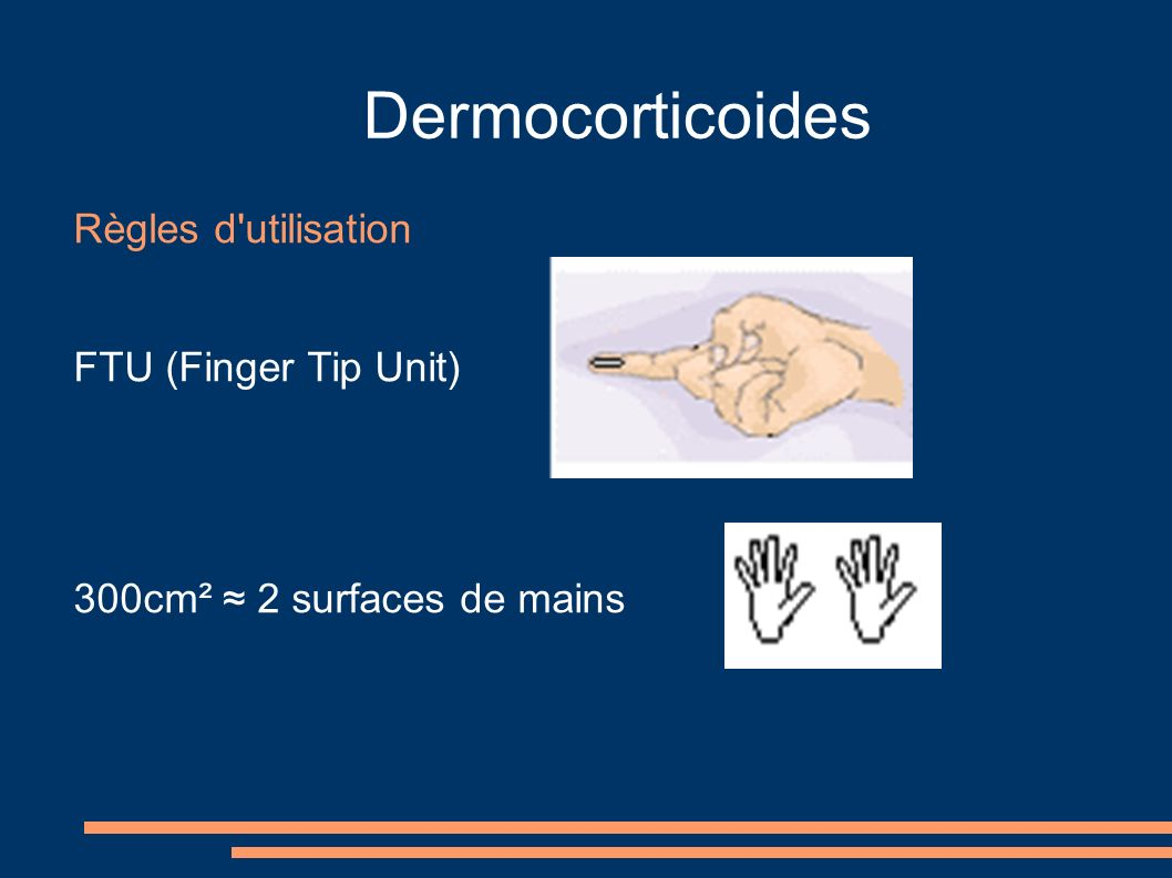 Dermocorticoides Règles d utilisation FTU (Finger Tip Unit)