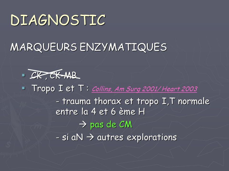 DIAGNOSTIC MARQUEURS ENZYMATIQUES CK , CK-MB