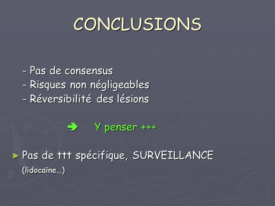 CONCLUSIONS - Pas de consensus - Risques non négligeables