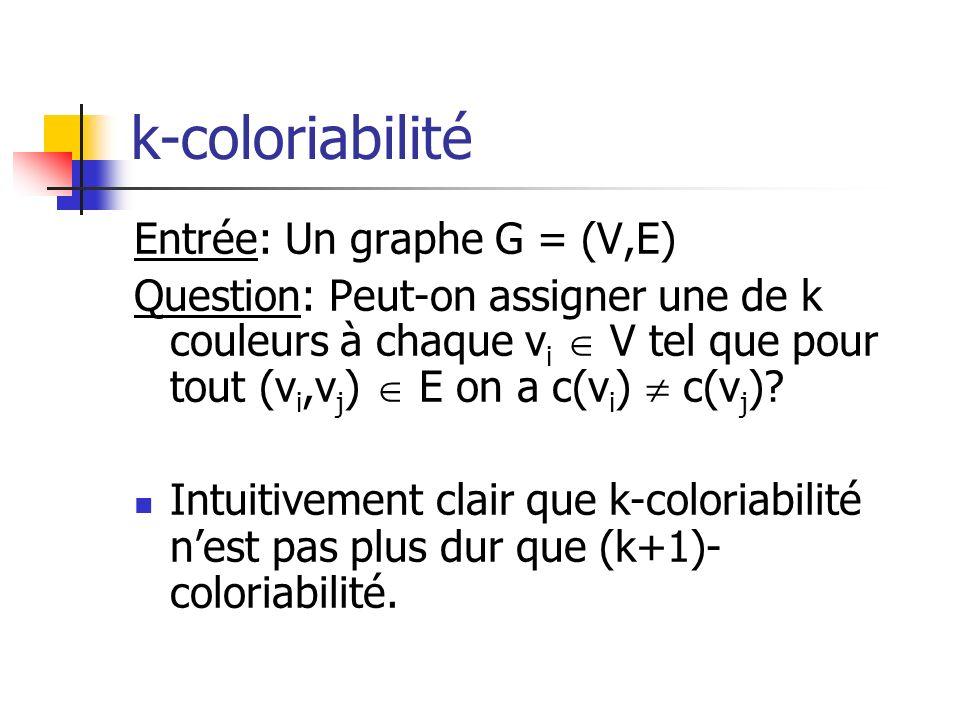 k-coloriabilité Entrée: Un graphe G = (V,E)