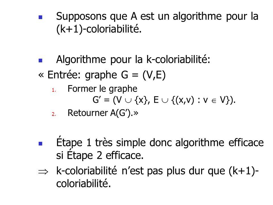 Supposons que A est un algorithme pour la (k+1)-coloriabilité.