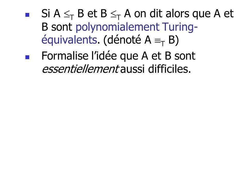 Si A T B et B T A on dit alors que A et B sont polynomialement Turing-équivalents. (dénoté A T B)
