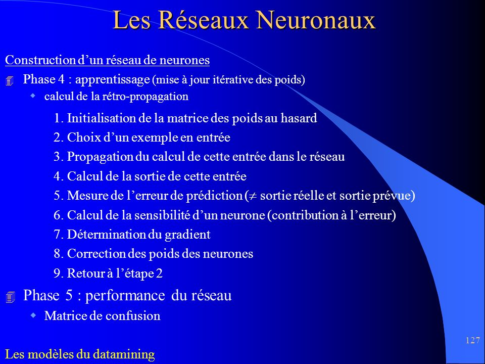 Les Réseaux Neuronaux Phase 5 : performance du réseau