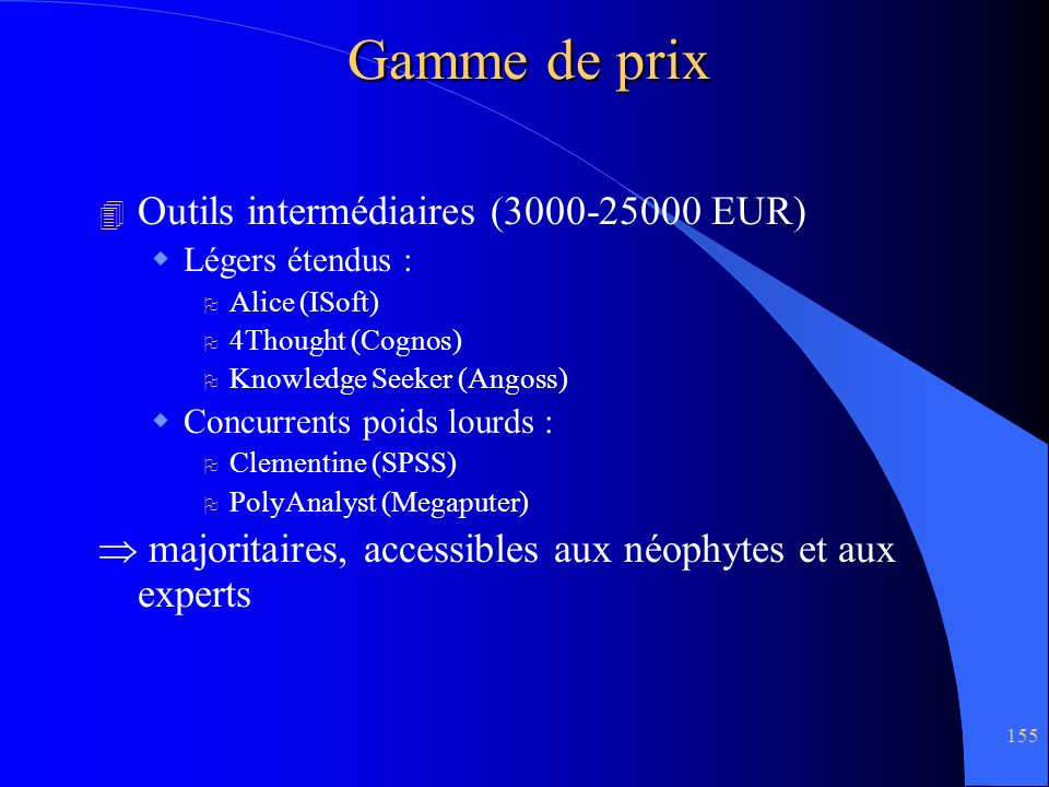 Gamme de prix Outils intermédiaires (3000-25000 EUR)