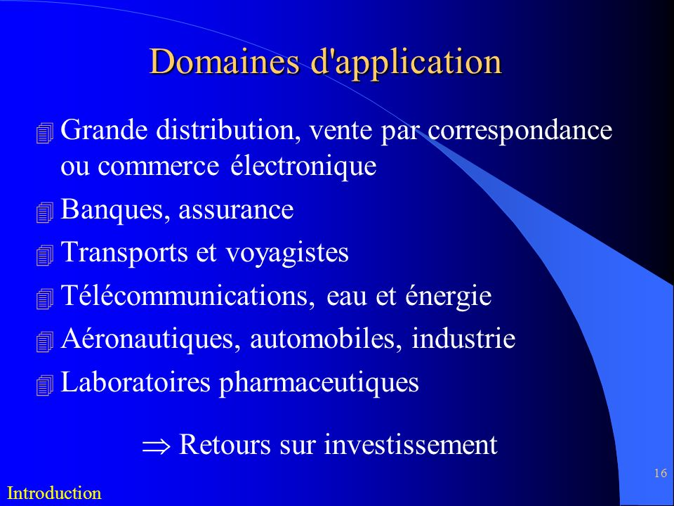 Domaines d application