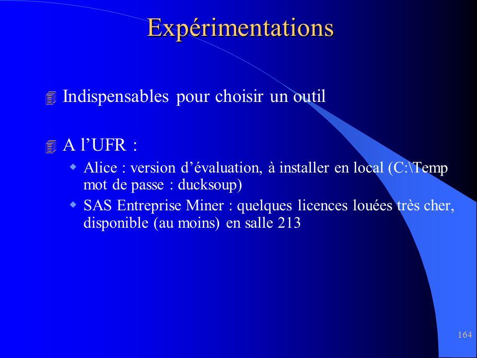 Expérimentations Indispensables pour choisir un outil A l'UFR :