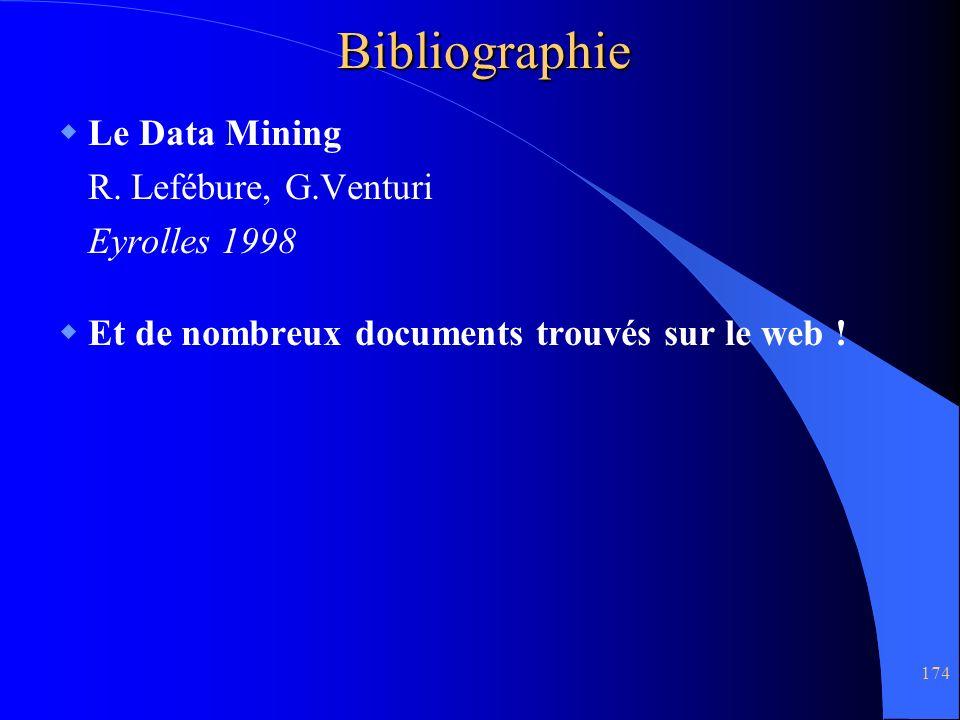 Bibliographie Le Data Mining R. Lefébure, G.Venturi Eyrolles 1998