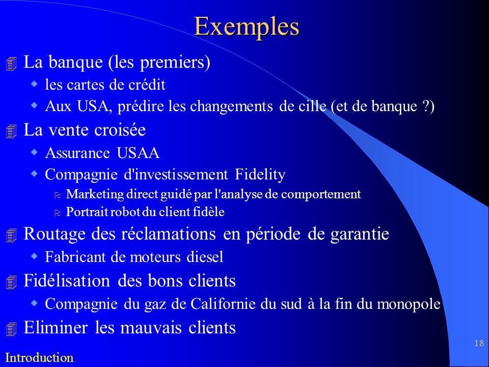 Exemples La banque (les premiers) La vente croisée