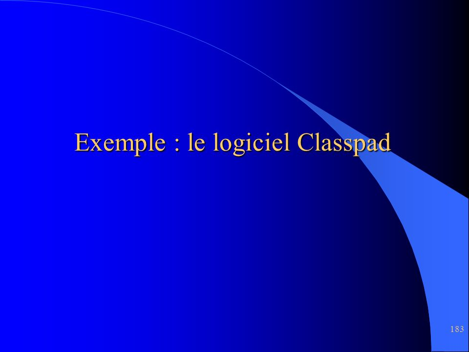 Exemple : le logiciel Classpad