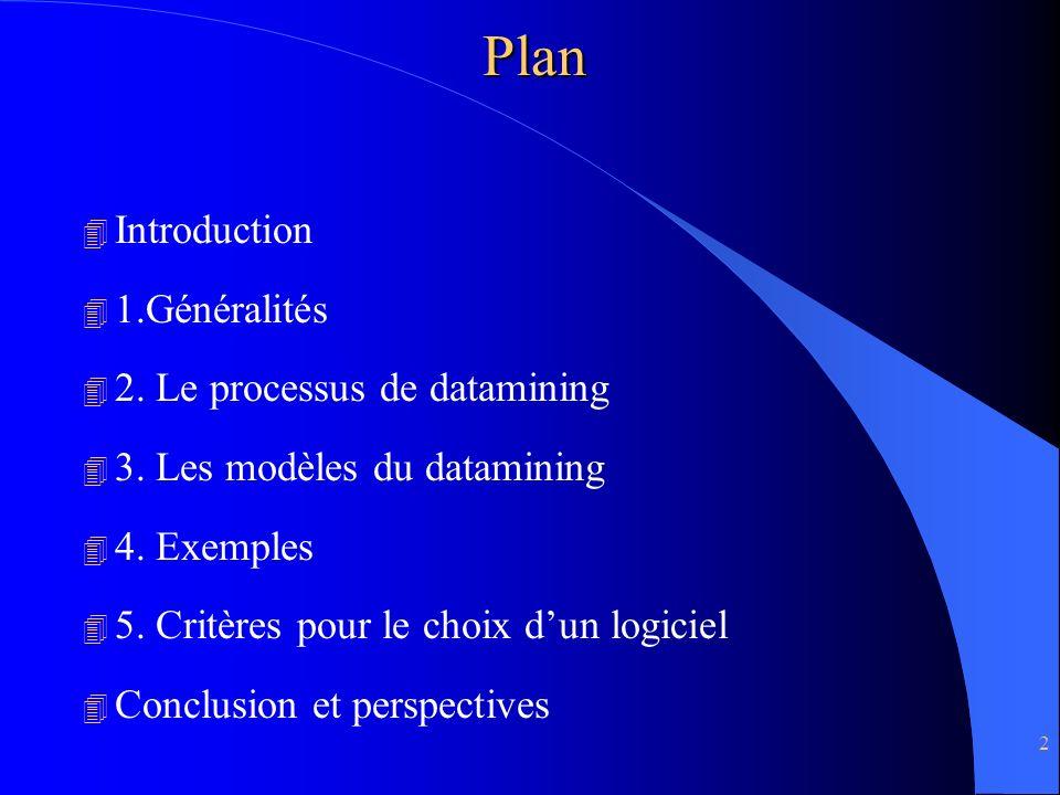 Plan Introduction 1.Généralités 2. Le processus de datamining