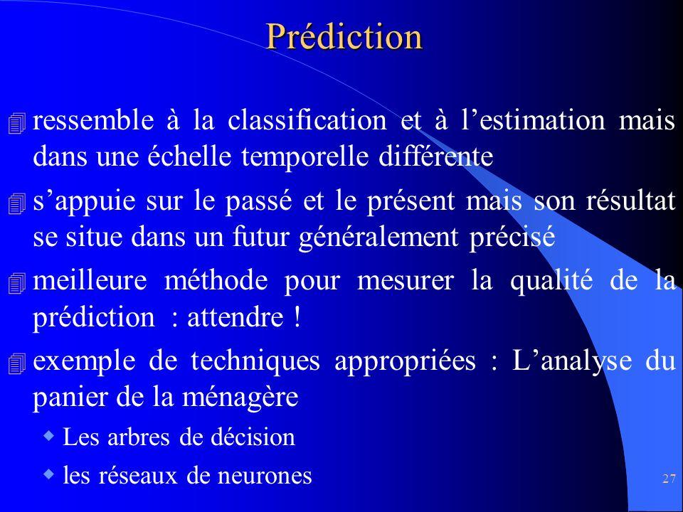 Prédiction ressemble à la classification et à l'estimation mais dans une échelle temporelle différente.