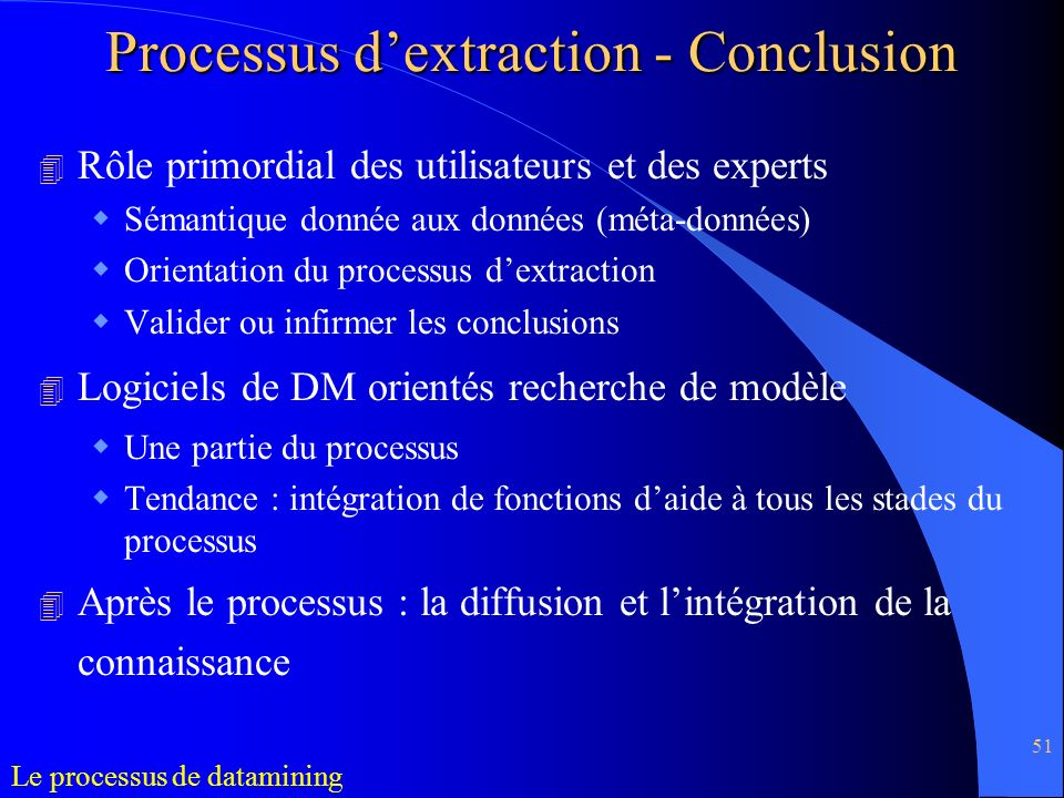 Processus d'extraction - Conclusion
