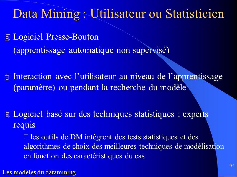 Data Mining : Utilisateur ou Statisticien