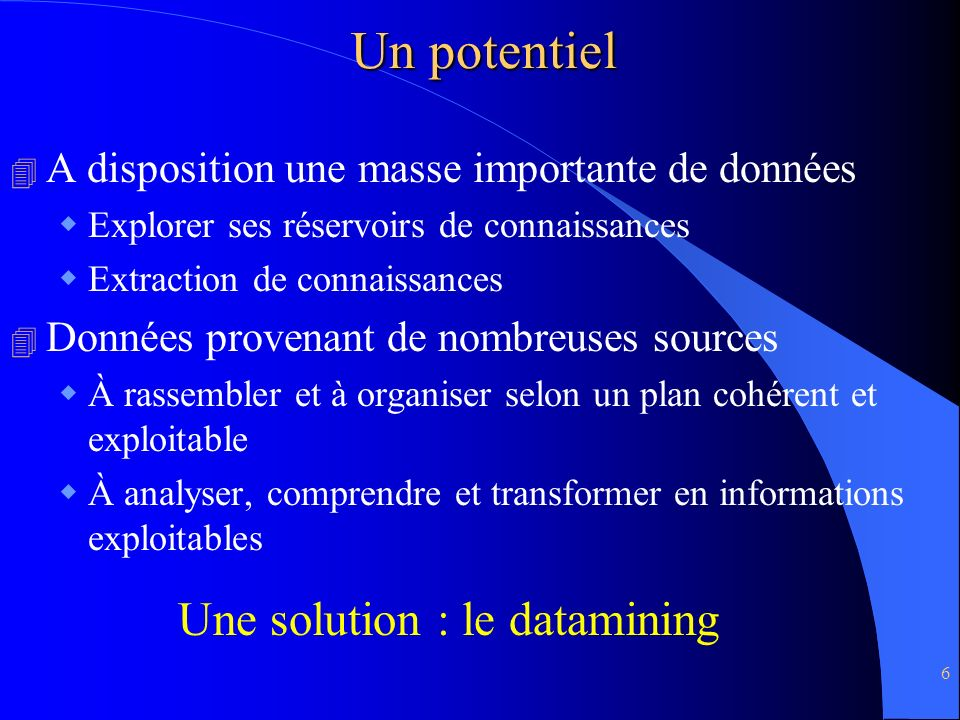 Un potentiel Une solution : le datamining
