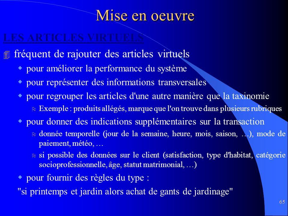 Mise en oeuvre LES ARTICLES VIRTUELS
