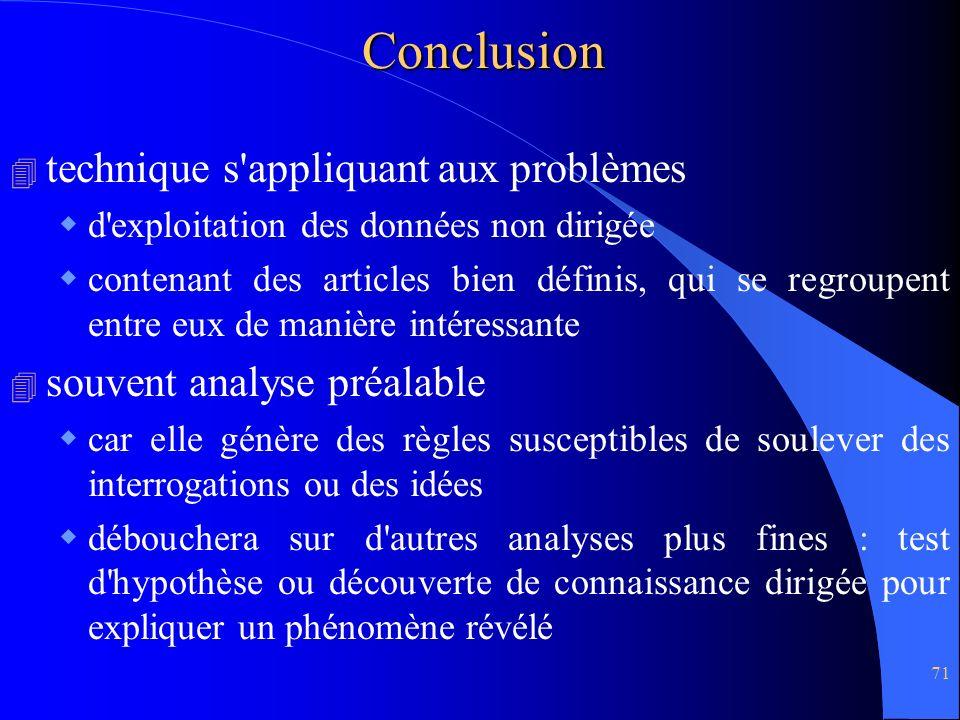 Conclusion technique s appliquant aux problèmes