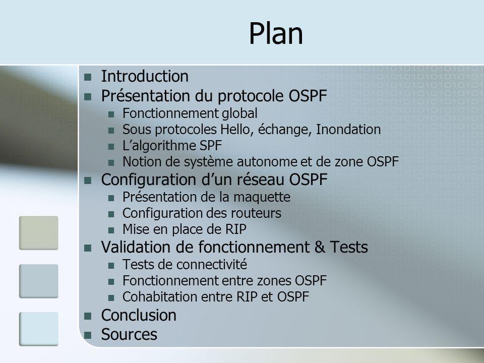 Plan Introduction Présentation du protocole OSPF