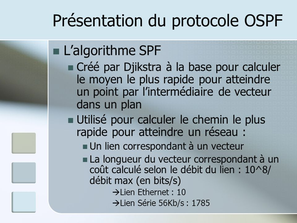 Présentation du protocole OSPF