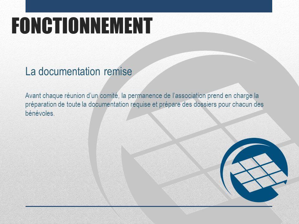 FONCTIONNEMENT La documentation remise