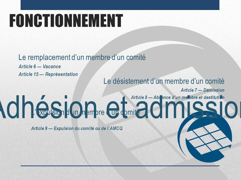 Adhésion et admission FONCTIONNEMENT