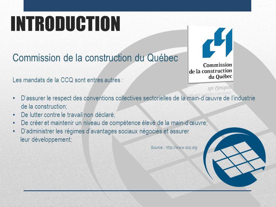 INTRODUCTION Commission de la construction du Québec