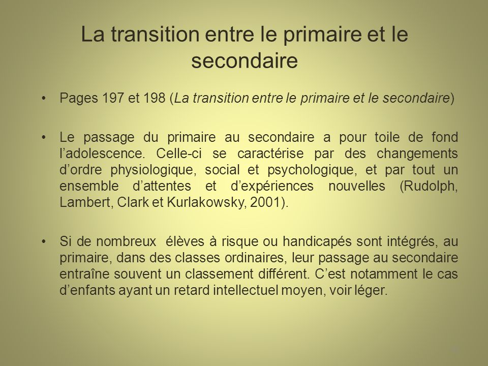 La transition entre le primaire et le secondaire