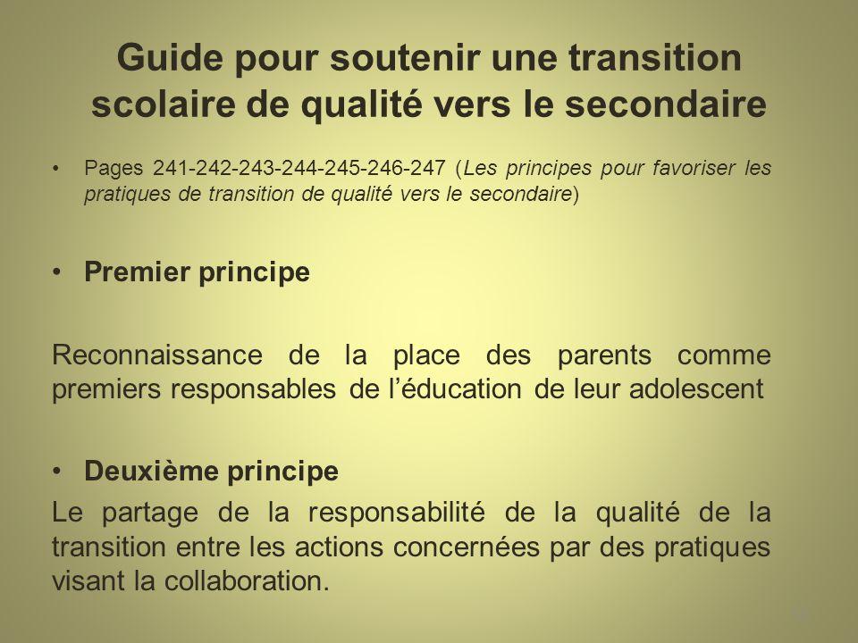 Guide pour soutenir une transition scolaire de qualité vers le secondaire