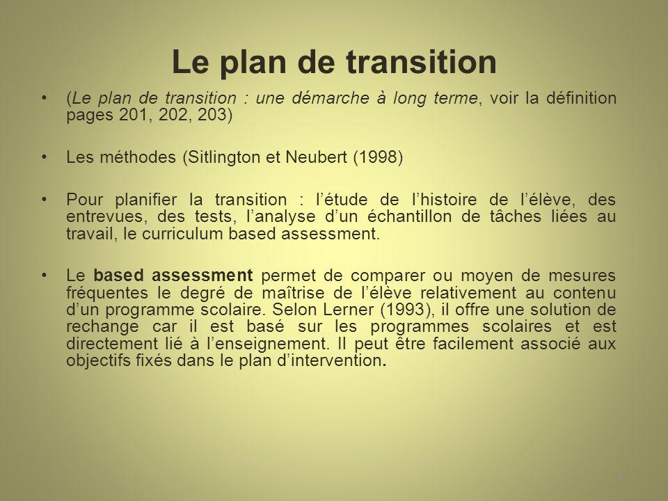 Le plan de transition (Le plan de transition : une démarche à long terme, voir la définition pages 201, 202, 203)