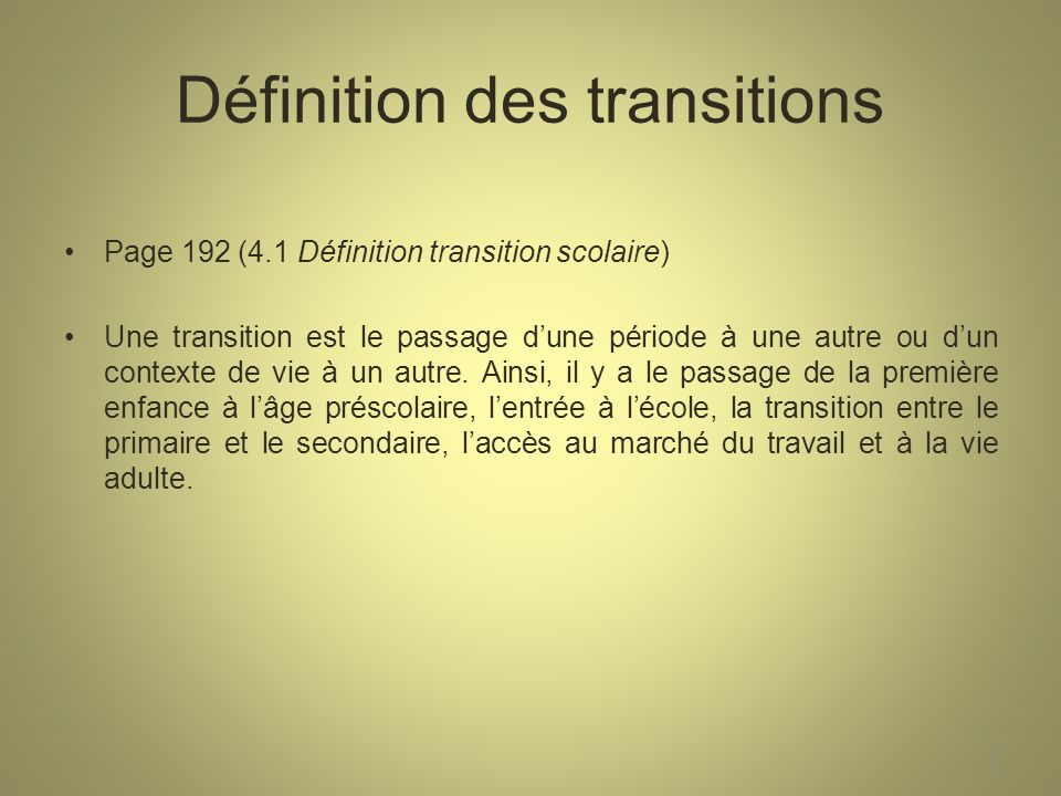Définition des transitions