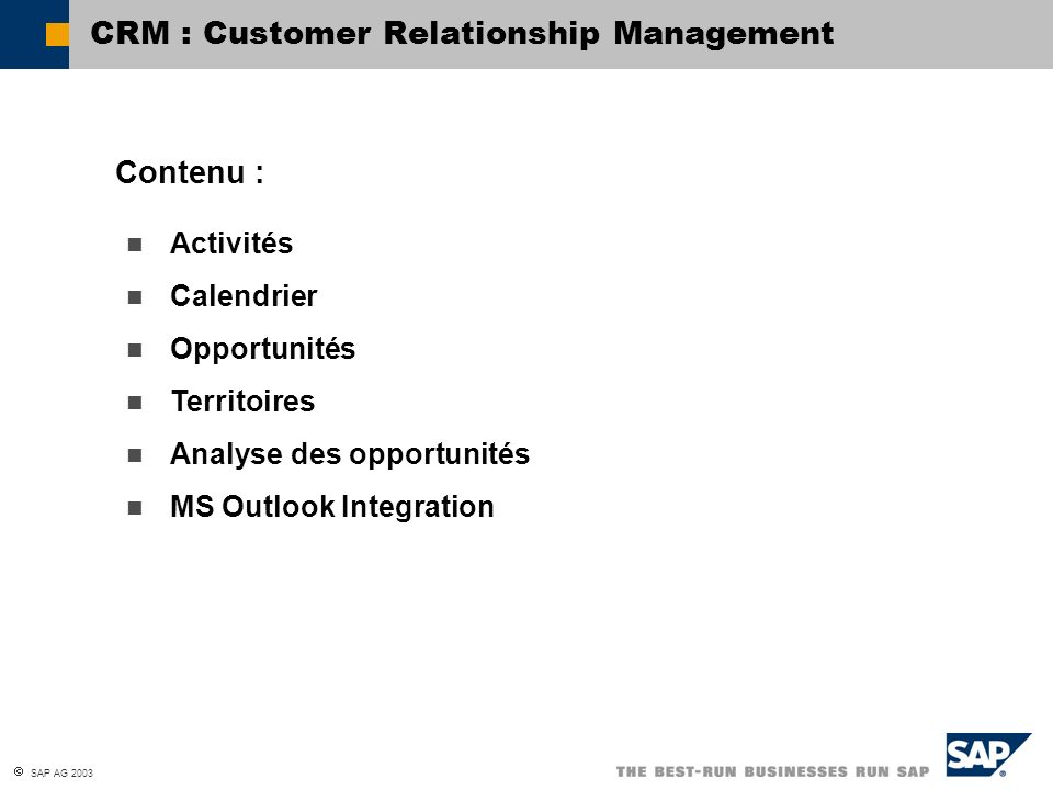 CRM : Customer Relationship Management