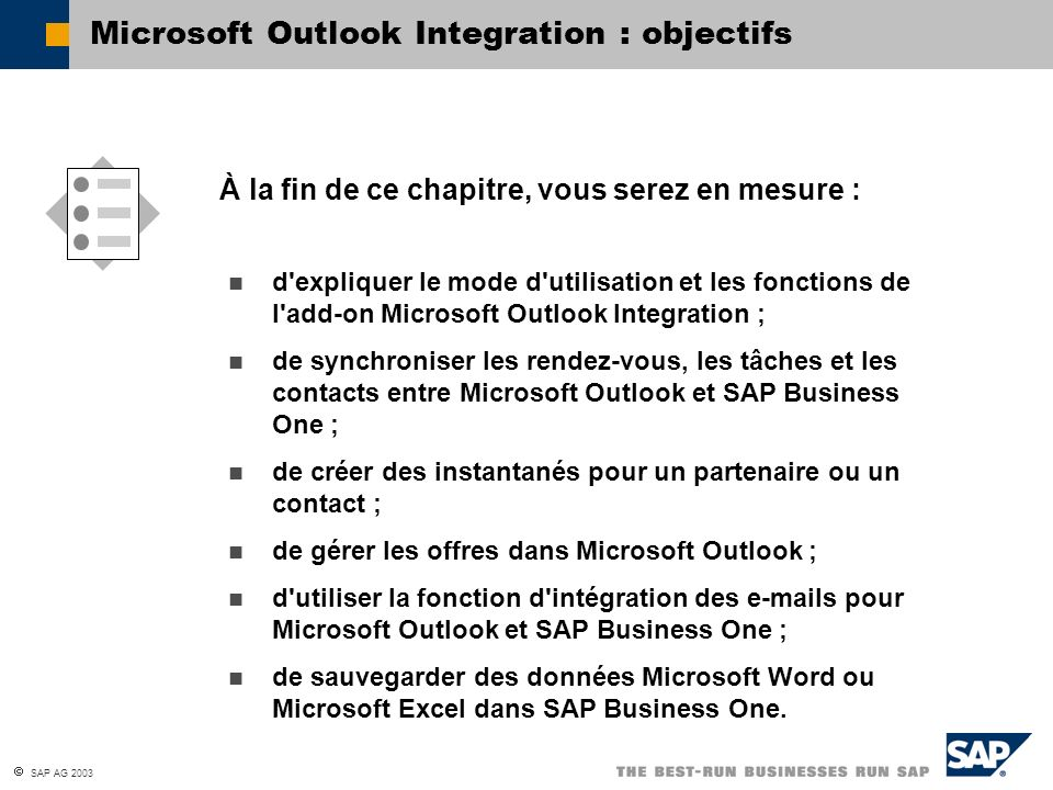 Microsoft Outlook Integration : objectifs