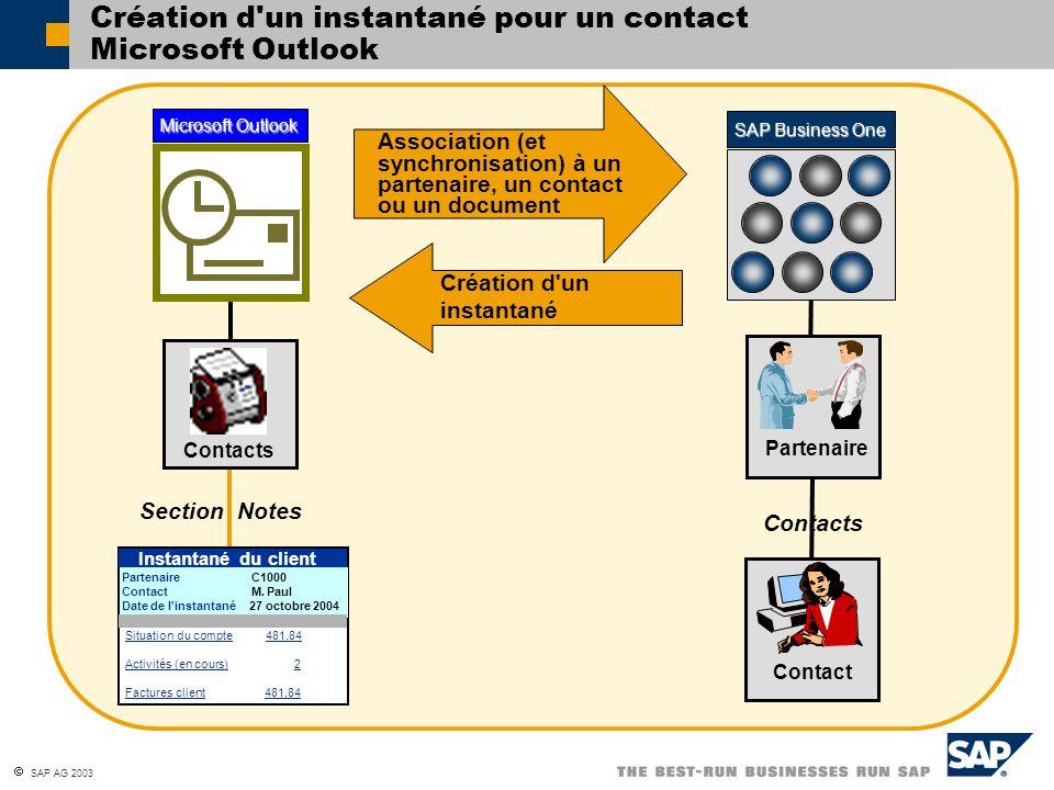 Création d un instantané pour un contact Microsoft Outlook