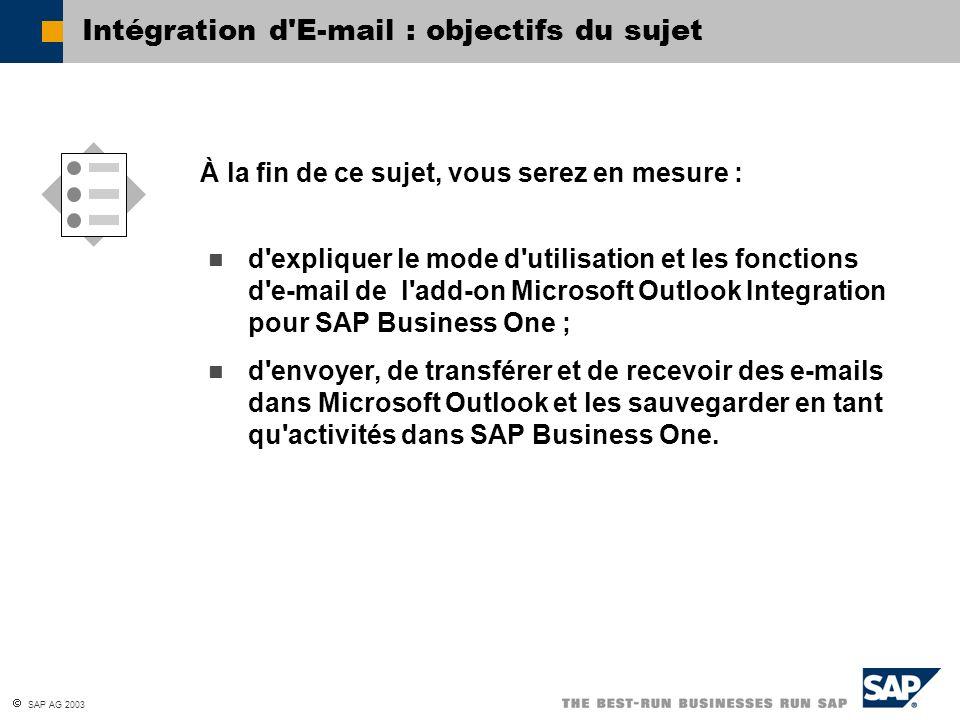 Intégration d E-mail : objectifs du sujet