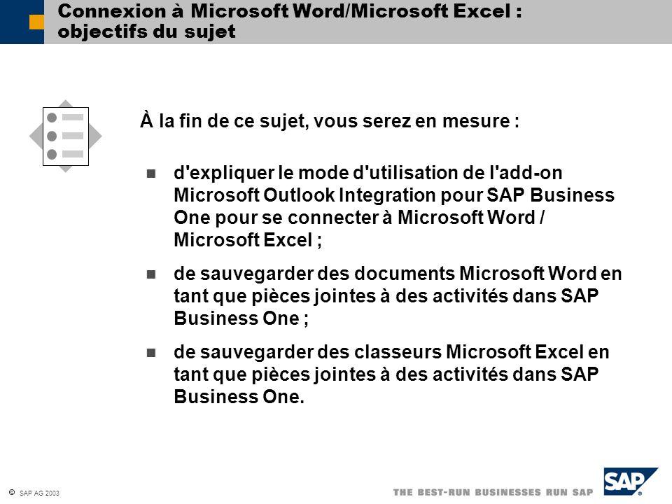 Connexion à Microsoft Word/Microsoft Excel : objectifs du sujet