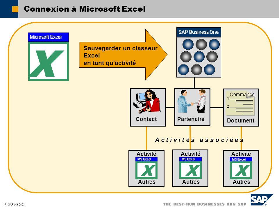 Connexion à Microsoft Excel