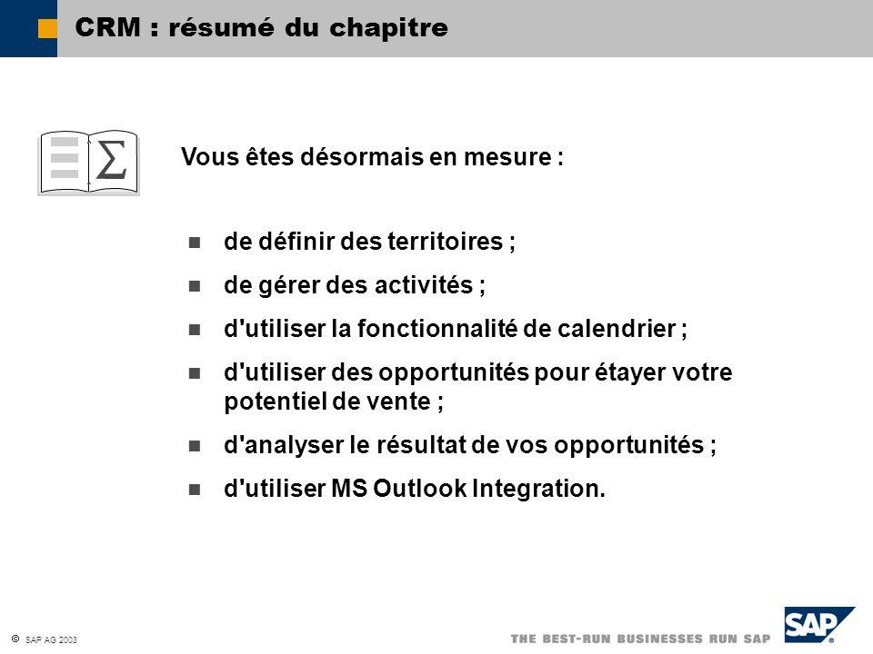 CRM : résumé du chapitre