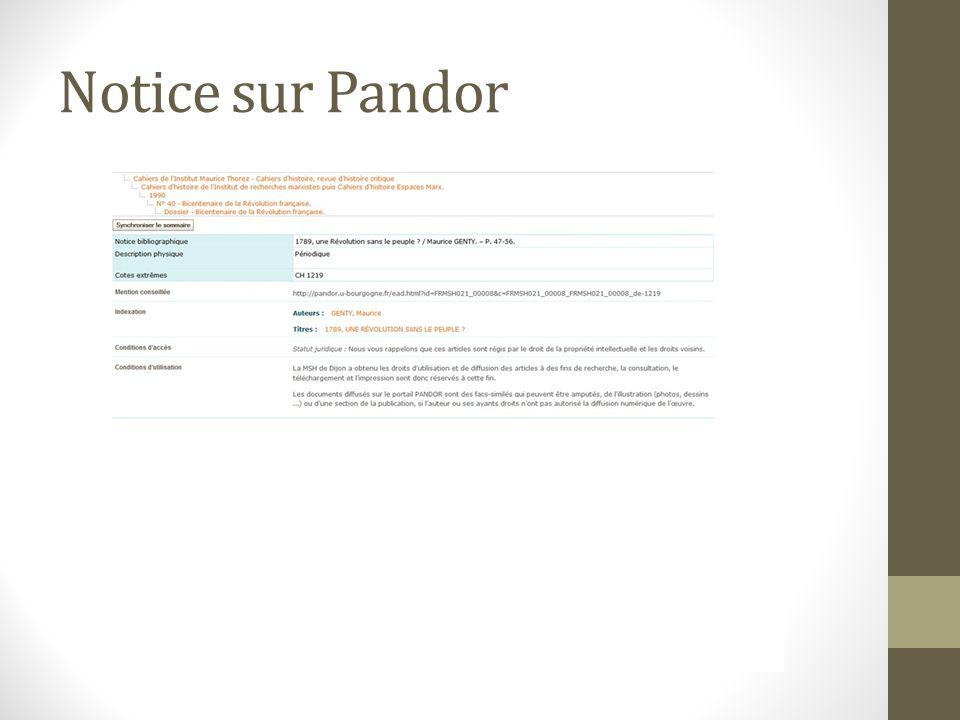 Notice sur Pandor