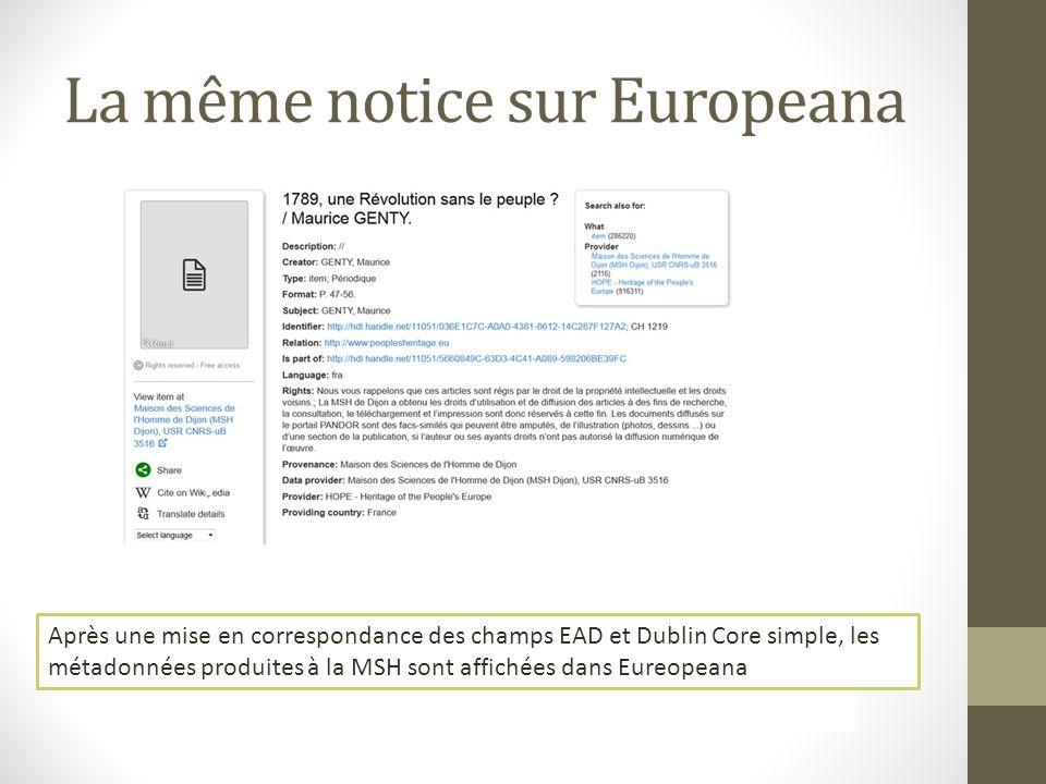 La même notice sur Europeana