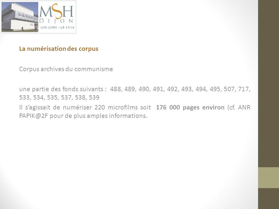 La numérisation des corpus
