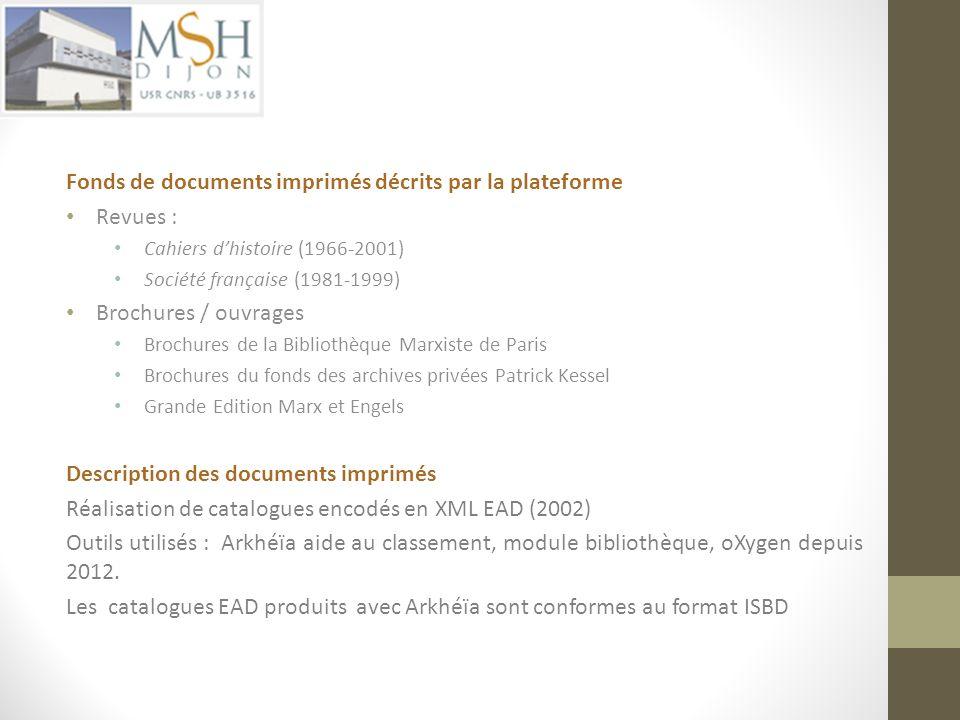 Fonds de documents imprimés décrits par la plateforme Revues :